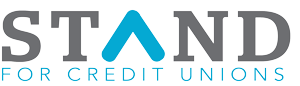 gray and blue logo that says STAND for credit unions